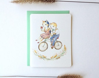 "Love / Friendship Card - ""Wheels of Love"" - romantic animal love"