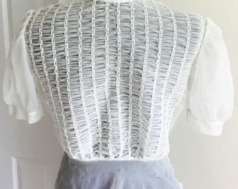 1940's Vintage sheer button up white shirt blouse