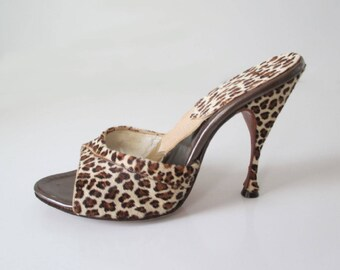 Fredericks Of Hollywood Springolators Vintage 50's Leopard Mules Shoes 7