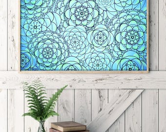 """Colorful Flowers Drawing - 8.3x11.7"""" (A4) Art Print, Wall Decor, Illustration, Poster, Pens, Crayons, Pencils, Markers"""