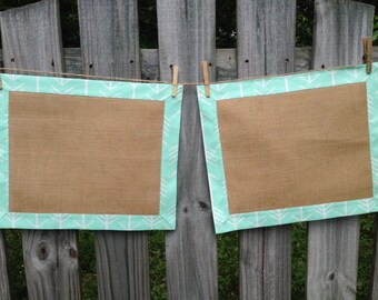 Mint and Burlap Tailored Placemats- set of two