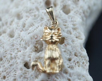 14K SOLID GOLD Pendant Vintage Jewelry Yellow Gold small cat hammered  Charm  Art Deco  C