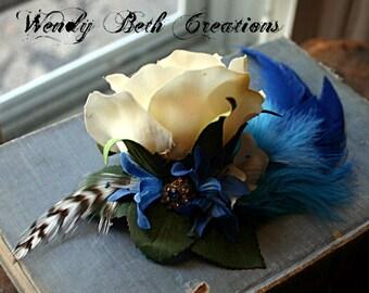 Artic Blast Hair Clip Fascinator - White Rose, Winter, Blue Feather, Vintage Assemblage, Tribal, Belly Dance, Wedding, Snowflake, Rhinestone