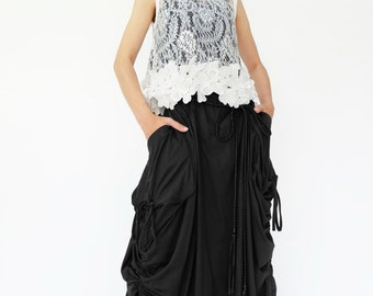 NO.123 Black Cotton Jersey Mega Pocket Maxi Skirt