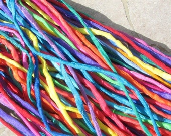BRIGHTS ASSORTENT 25 Hand Dyed Silk Cords Fiber Strings For Jewelry
