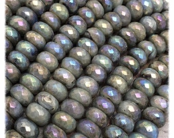 Labradorite Large Faceted Rondell Gemstone Beads, 6x9mm, 8 inch strand