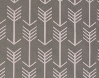 White Arrows on Grey Home Decorator Weight Fabric Print by the Yard D795.10