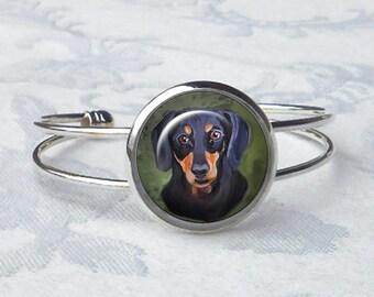 Bracelet manchette personnalisé teckel ~ April Birthday ~ partir de vos Photos ~ chien Bracelet ~ Pet souvenir ~ Doxie bijoux