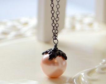 Black Hallowe'en Necklace, Soft Peach, Large Glass Pearl, Gunmetal Plated Chain, Fun Spooky Holiday Jewelry