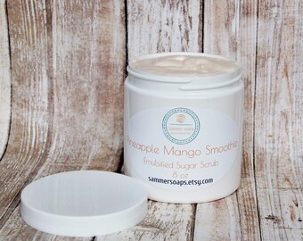 Mango Grapefruit Sugar Scrub, Tropical Fruit Scented Scrub, Emulsified Body Scrub, Exfoliating Scrub, Moisturizing Scrub, Whipped Scrub