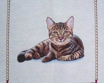 Coated TABBY cat tapestry panel fabric coupon