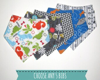 Drool Bib Set- Choose any 5 Baby Drool Bibs- Baby Shower Gift Set- New Baby Gift Idea- Baby Bandana Bib Set- Drool Bandana Bib- Pick 5 Bibs
