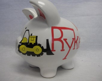 Personalized Piggy Bank Tonka Truck