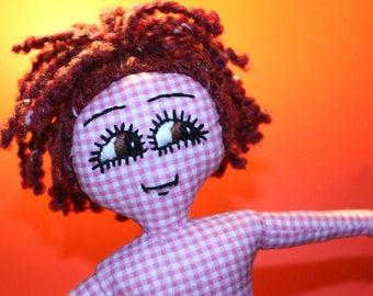 Handmade Rag Doll / OOAK / Cloth Doll / Ditsy Prints / Quirky / Gingham