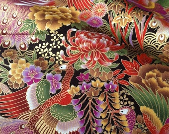Japanese traditional pattern, large flower and Peacock, black background, cotton 110 x 50 (252A)