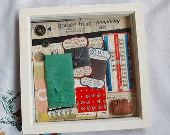 Sewing Room Decor, Vintage sewing themed box frame, contains authentic vintage sewing notions, Crafting Enthusiast