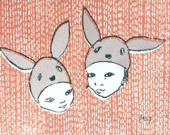 The hey bunnies - original linocut print - OOAK // 14x18cm // Art, print, printmaking, wall art, illustration, bunny, kids