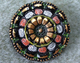Czech Glass Button 27mm - hand painted - black, gold, red, white (B27333)