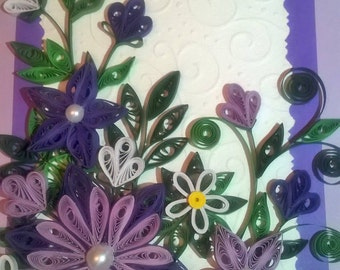 Quilling birthday card, Quilled card, Greeting quilled card, Mother day card, Handmade card, Paper card, Quilled purple flowers,Flowers Card