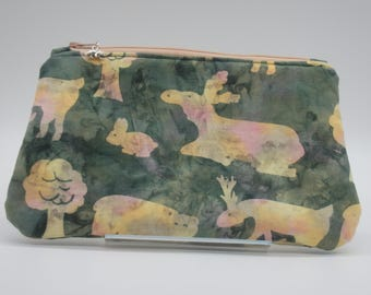 Northwoods Batik Bag, Moose Lovers Cosmetic Clutch, Makeup Bag, Zip Pouch, Pencil Case, Wet Sack, Ditty Bag, Makeup Pouch - OOAK