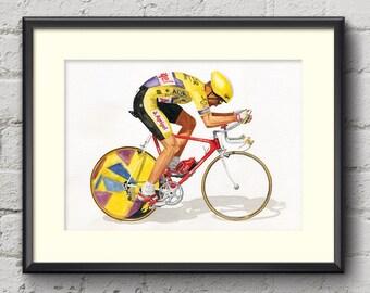 Greg LeMond Tour de France 1989 Fine Art Cycling Print