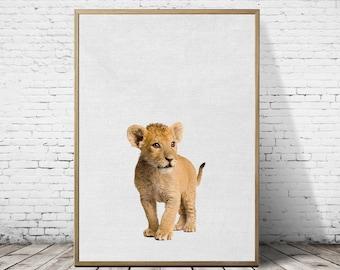 little lion print, lion wall art, nursery art decor, nursery set of prints, baby lion photography, african animals poster, baby lion digital