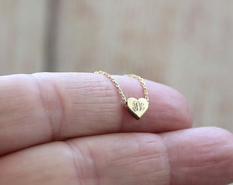 Tiny Monogram Necklace-Heart Necklace-Personalized-Gold-Monogram Necklace-Personalized Heart Necklace-İnitial Necklace Mother's Day Gift