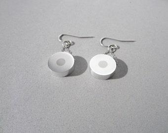Titanium Dot Earrings – Modern Contemporary Jewelry – Minimalist Jewelry – Mixed Metal Jewelry – Modern Metal Jewelry