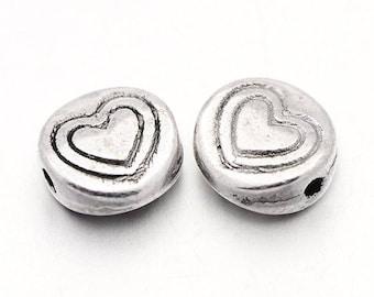 Tibetan silver bead - set of 1 heart