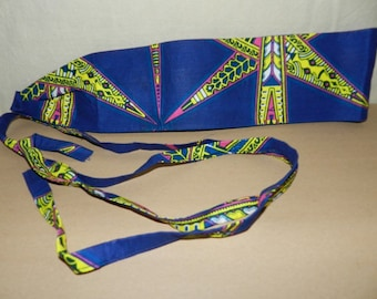 Belt is reversible, neon green and blue fabric cotton African wax print, one size