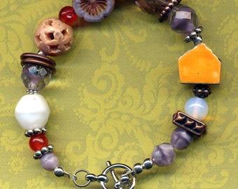 Purple Orange White Chunky Bracelet,  House Cooper Bracelet, One of a Kind Statement Porcelain Bracelet, Home Sweet Home Cottage Bracelet