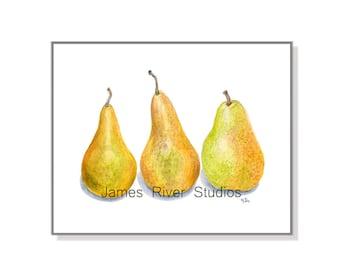 Pear Art Pear Painting Pear Art Print Pear Watercolor Painting Kitchen Art Kitchen Print Kitchen Wall Decor Kitchen Wall Art Fruit Art Print