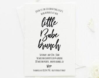 Little Babe Brunch Baby Shower Invitation . Sip and See Baby Shower . Sip and See . Brunch Baby Shower . 4x6 or 5x7