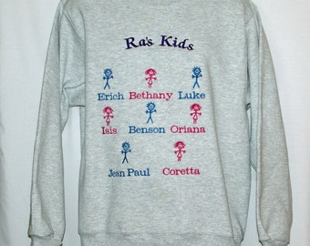 Ra Sweatshirt, Custom Grandparent Gift, Personalize With Eight Kids Names, Nannie, Mo, Mimi, Meme, GG, Namaw, No Shipping Fee,  AGFT 899