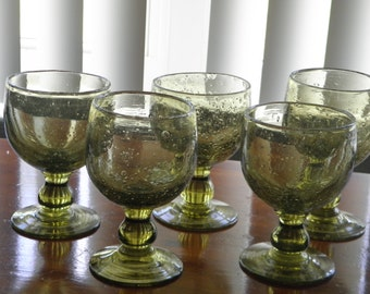 SALE  5 Hand Blown Green Heavy Glass Pedastal Wine/Water Goblets, 12 oz