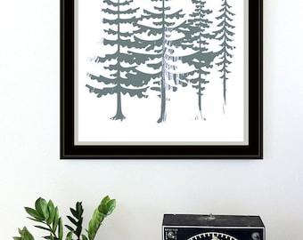Evergreen Trees Screenprint - Art Print Silkscreen - Red Sun Northwest Forest Poster Woodland Art Print