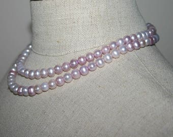 LAVENDER PEARL NECKLACE...Double Row Lavender Per Necklace