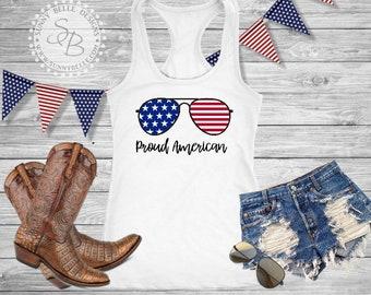 Proud American // Flag Sunglasses Shirt // Ladies 4th of July Shirt // Patriotic Ladies Shirt // Bella Canvas Flowy Muscle Shirt
