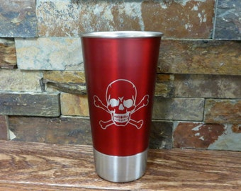 Personalized Beer Cup Opener- Engraved Stainless Steel Cup- Groomsmen Gift- Best Man- Tailgating -Red