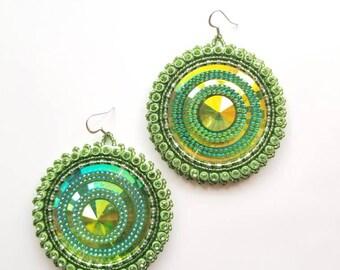 Large Green Earrings