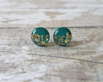 Green gold earrings, Round green earrings, Tiny studs, Dark green studs, Emerald and gold earrings, Cute earrings green and gold, Small stud