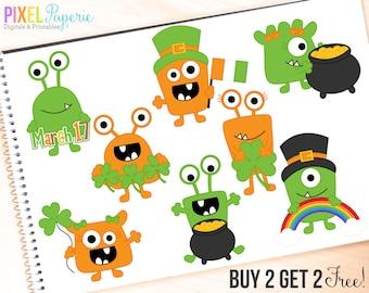 st. patrick's day clipart monsters irish digital clip art - Irish Monsters Digital Clipart - BUY 2 GET 2 FREE