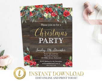 Christmas Invitation, Christmas Party, INSTANT DOWNLOAD, Editable Invitation, Printable Invitation, Invitation Template, Christmas Invite