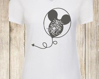 Disney Inspired, Mickey Balloons Disney World This is my Happy Place tee shirt tank castle ears Animal Kingdom Epcot