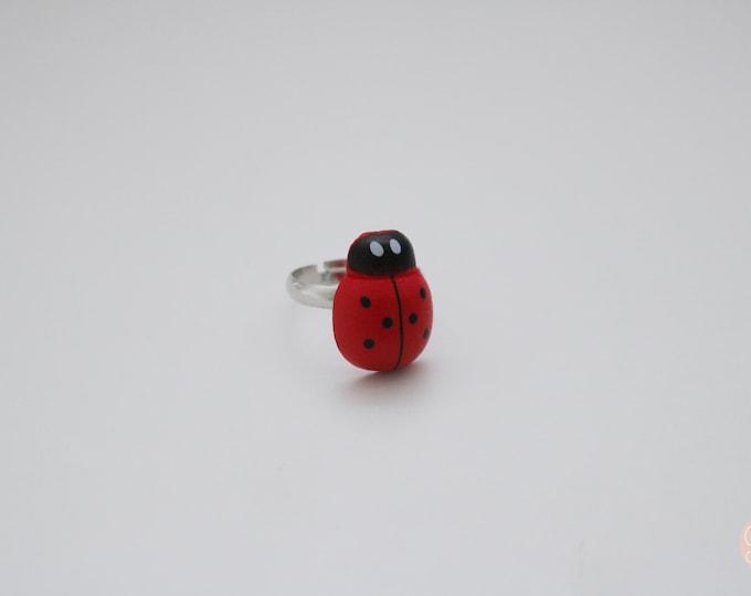 Adjustable Ladybug Ring.