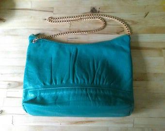 Vintage 1980s teal blue ruched goldtone chain strap real leather shoulder bag purse