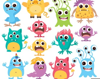 Monsters Party Digital Clipart