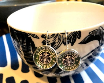 StarBucks coffee cabochon earrings- 16mm
