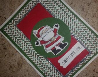 Santa Claus card, a merry little wish card, Christmas card, holiday wishes, merry Christmas holiday cards