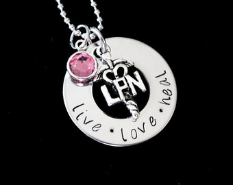 LPN necklace / Nurses / Nursing Student / Nurse gift - Hand Stamped Stainless Steel pendant with Swarovski birthstone